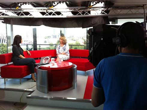 Teresa Witz in the BBC News Studio Olympic Artist 2012