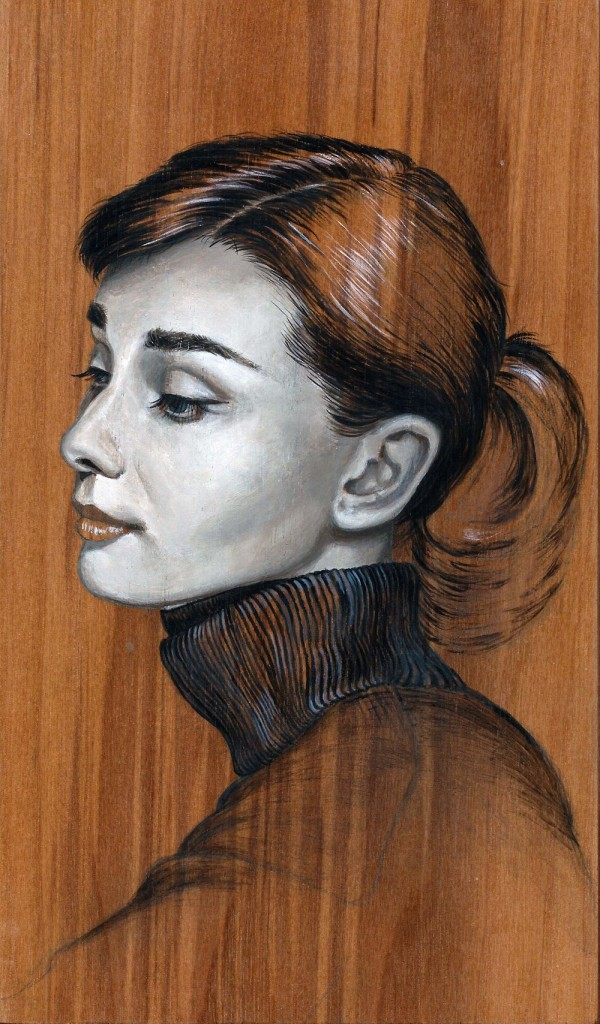 'Audrey Hepburn' oil on wood