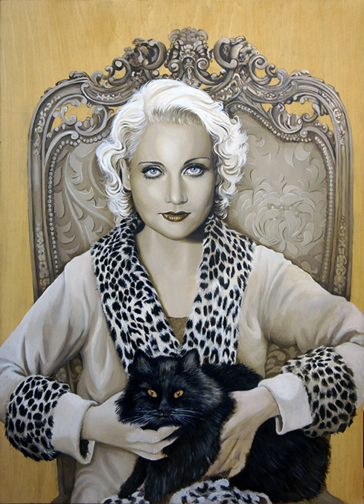 Carole Lombard - oil on wooden panel