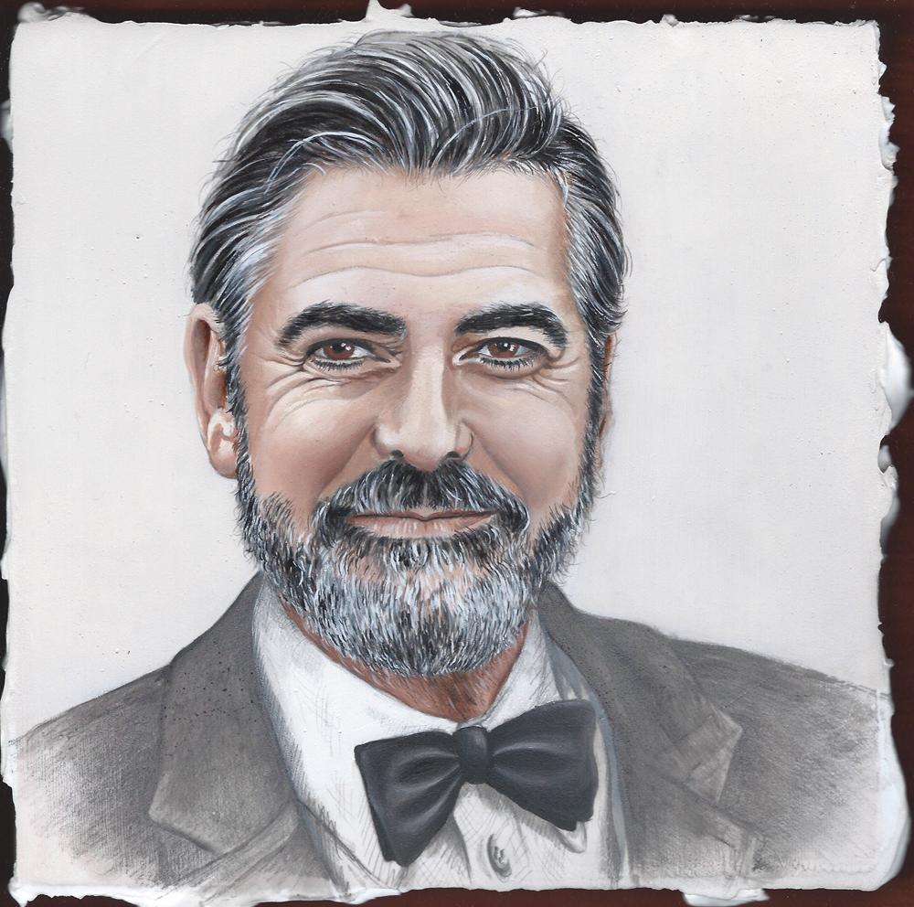 George Clooney oil on wooden panel
