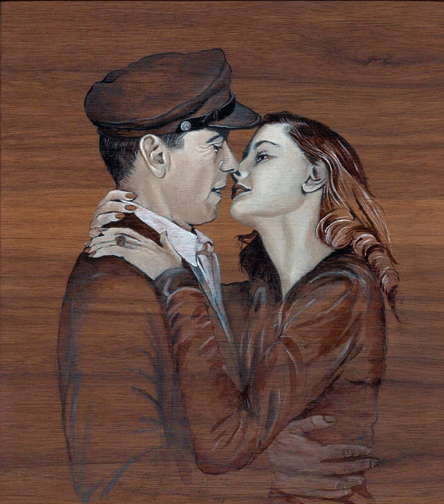 'Humphrey Bogart & Lauren Bacall' oil on wood