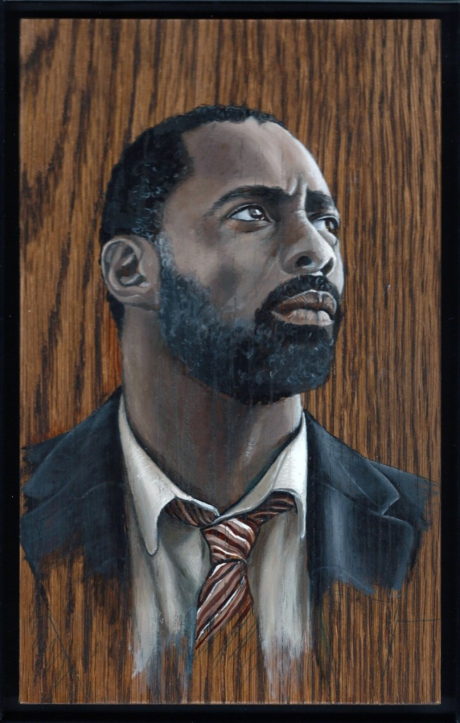 'Idris Elba' oil on wood