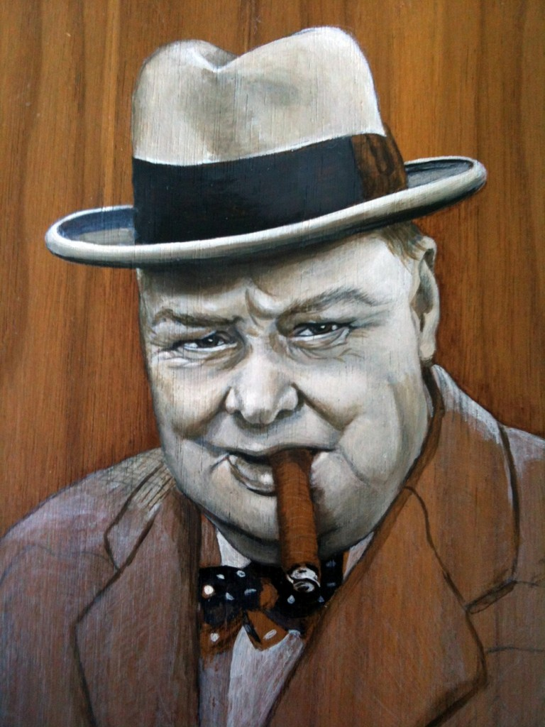 'Winston & cigar' oil on wood