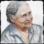 Doris Lessing Oil on wooden panel