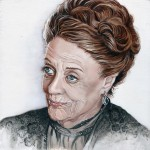 Maggie Smith oil on wooden panel
