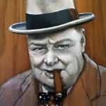 'Winston & cigar' oil on wood